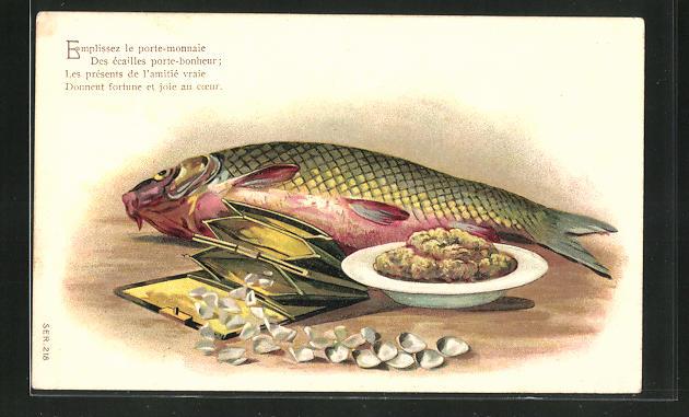 Präge-AK Emplissez le porte-monnaie..., Fisch und Portmonee mit Muscheln, 1. April 0