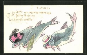 Präge-AK 1. April Au suiveur qui promet merveille..., Fischdamilie mit Hut und Fächer