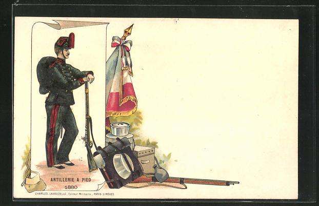 Lithographie Artillerie a Pied 1880, Soldat in Uniform mit Gewehr