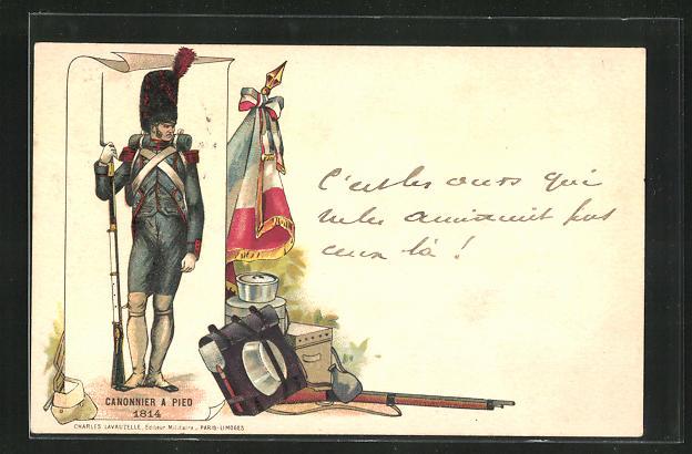 Lithographie Canonier a Pied 1814, Soldat in Uniform mit Bajonett 0