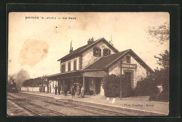 AK Maisse, La Gare, Bahnhof mit Bahnsteig