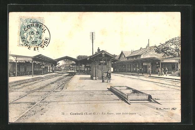 AK Corbeil, La Gare, vue interieur, Bahnsteig am Bahnhof