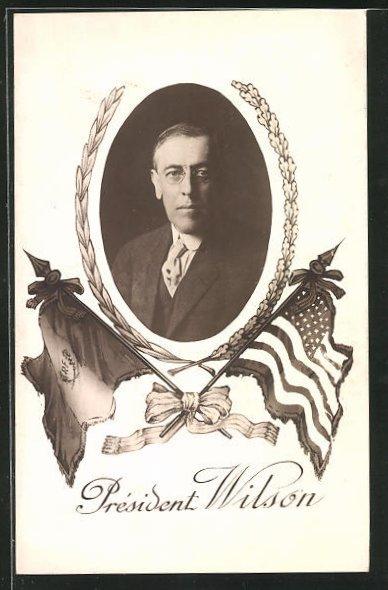 AK President Wilson, Fahnen von Frankreich und USA