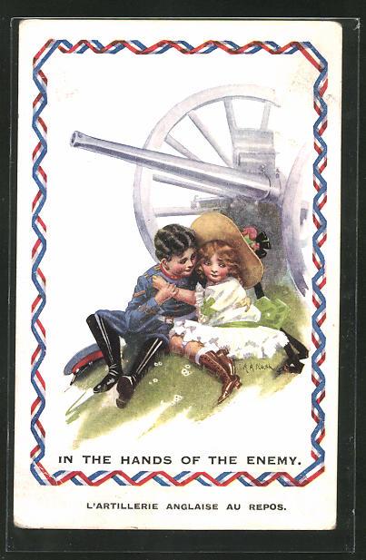 Künstler-AK sign. A. A. Nash: In the Hands of the Enemy, kleiner Soldat und Maid