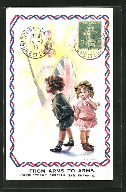 Künstler-AK sign. A. A. Nash: From Arms to Arms, kleines Liebespaar und Britannia