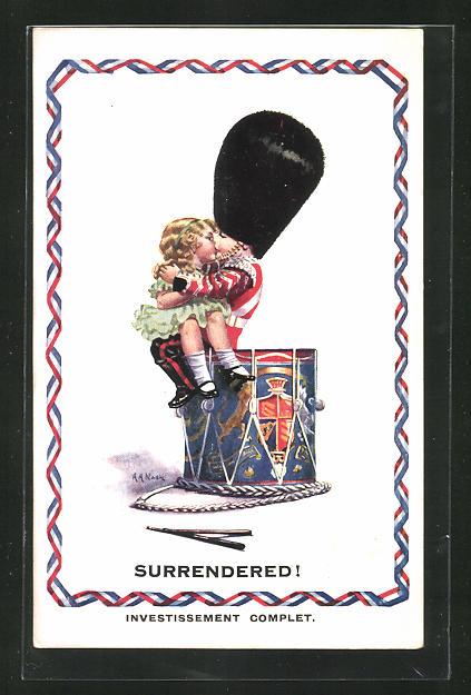 Künstler-AK sign. A. A. Nash: Surrendered, kleiner Gardist küsst Mädchen