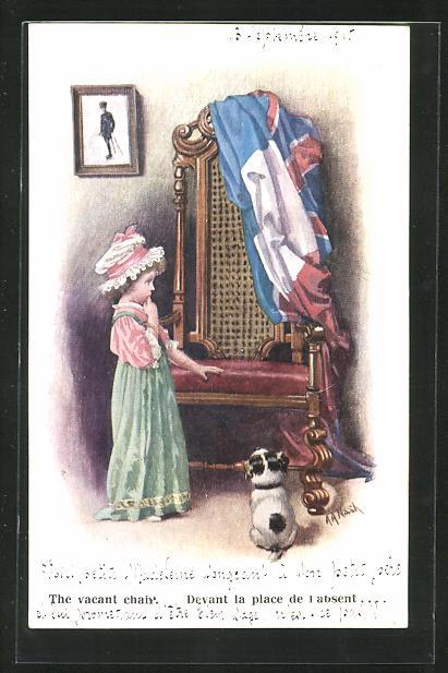 Künstler-AK sign. A. A. Nash: The vacant chair..., unsicheres Mädchen