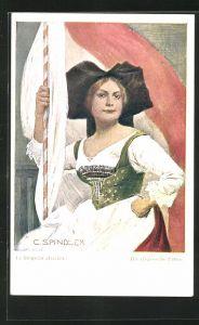 Künstler-AK sign. C. Spindler: Die elässische Fahne, Maid in Tracht