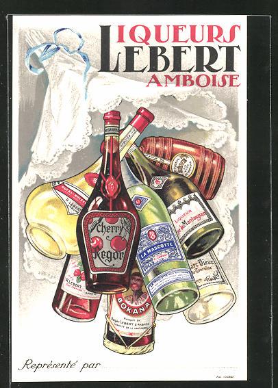 Lithographie Liqueurs Lebert - Amboise, Alkohol-Reklame