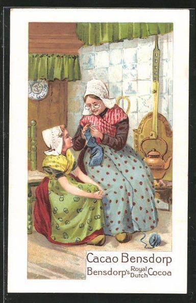 AK Cacao Bensdorp, Bensdorp`s Royal Dutch Cocoa, Grossmutter bringt Enkelin das Stricken bei