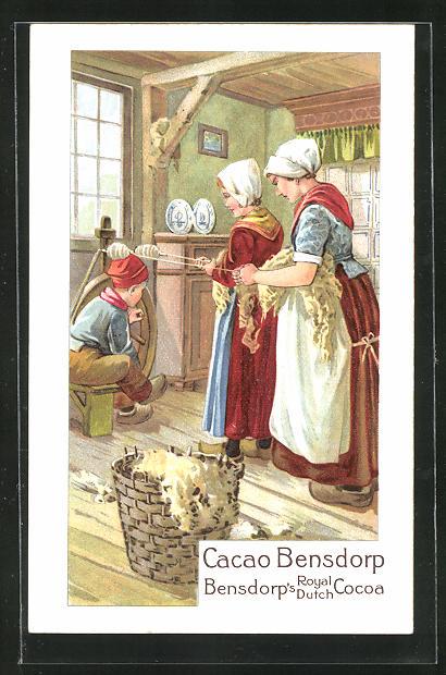 AK Cacao Bensdorp, Bensdorp`s Royal Dutch Cocoa, niederländische Spinnerinnen