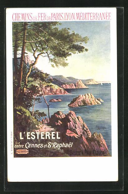 AK Chemins de Fer de Paris, Lyon, Méditerranée, L`Esterel entre Cannes at St-Raphael, Tourismus