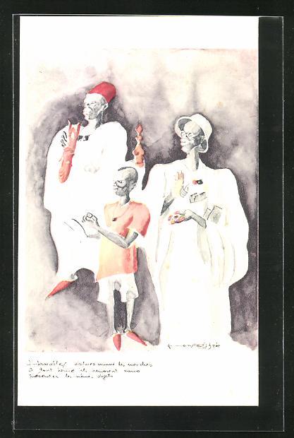 Künstler-AK sign. C. Bree: Inbassables..., afrikanische Volkstypen