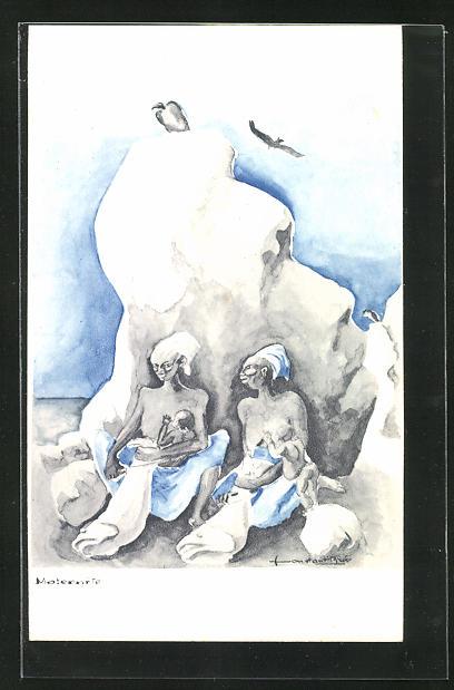 Künstler-AK sign. C. Bree: Maternité, stillende Mütter