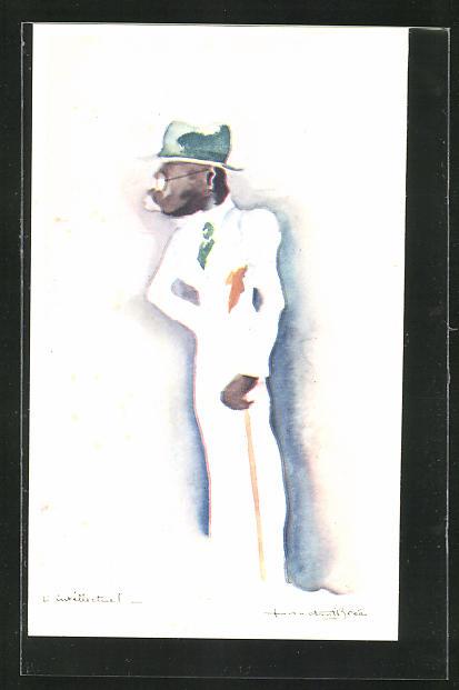 Künstler-AK sign. C. Bree: L`intellectuel, Afrikaner in europ. Kleidung