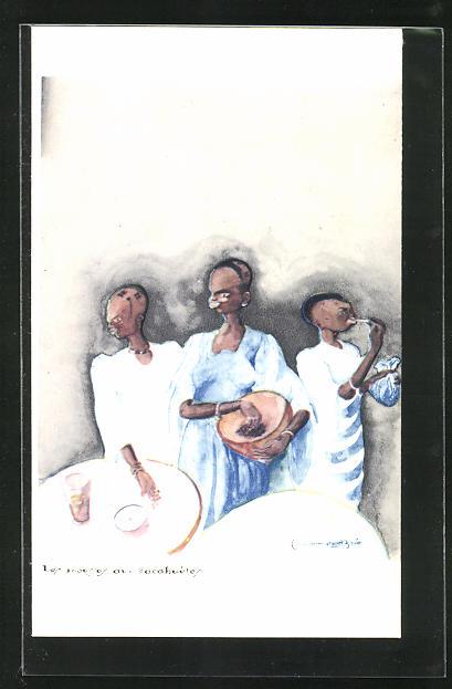 Künstler-AK sign. C. Bree: Les moussos aux cacahuétes, afrikanische Volkstypen
