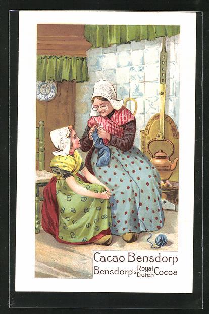 AK Cacao Bensdorp, Bensdorp`s Royal Dutch Cocoa, Grossmutter bringt Enkelin stricken bei