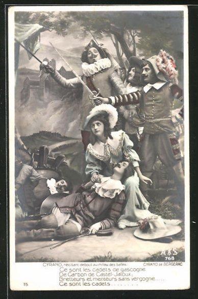 AK Cyrano de Bergerac, Cyrano , récitant debout au milieu des balles..., Theater