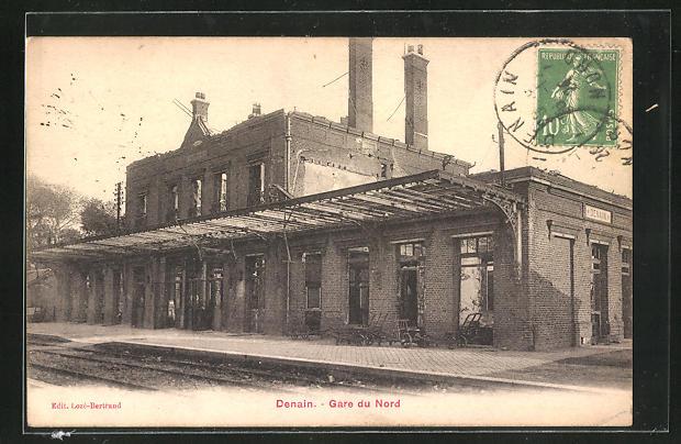 AK Denain, Gare du Nord, zerstörter Bahnhof