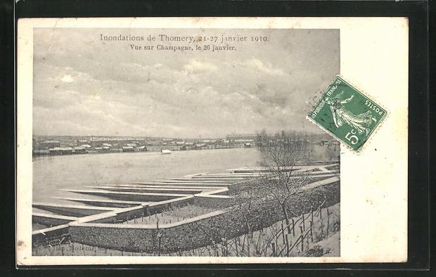 AK Thomery, Vue sur Champagne - Inondation 1910 0