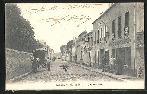 AK Lieusaint, Grande Rue, Strassenpartie