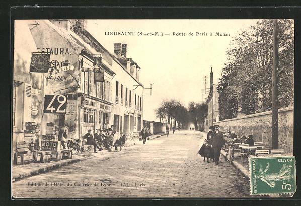 AK Lieusaint, Route de Paris à Melun, Strassenpartie 0