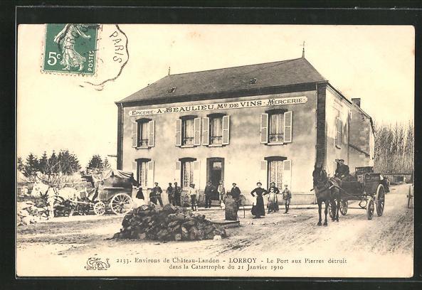 AK Lorroy, Le Port aux Pierres dètruit dans la Catastrophe du 21. Janvier 1910