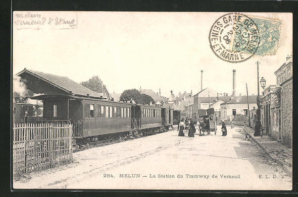 AK Melun, La Station du Tramway de Verneuil 0