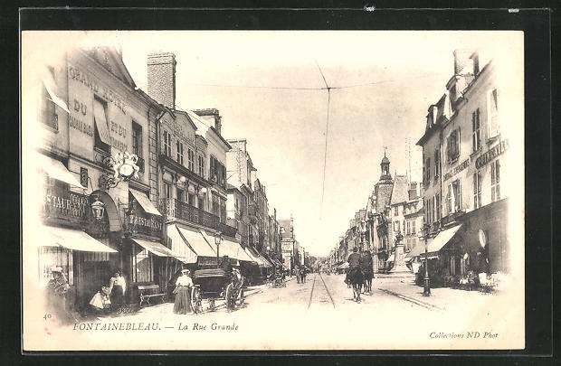 AK Fontainebleau, La rue Grande, Strassenpartie