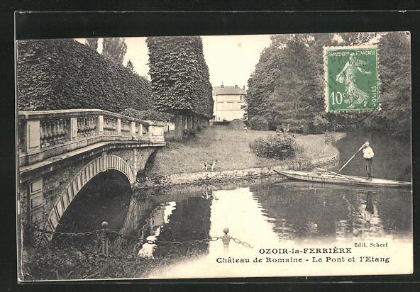 AK Ozoir-la-Ferriere, Chateau de Romaine, Le Pont et l`Etang