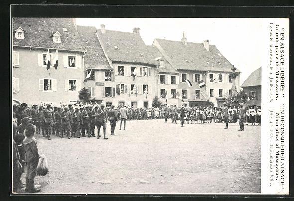 AK Alsace, Grande place de Massevaux 1918 0