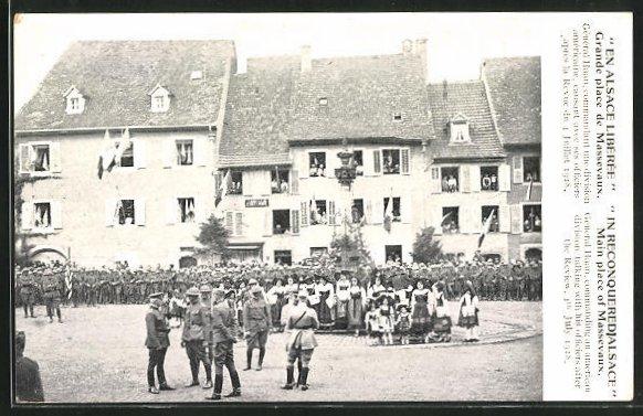 AK Alsace, Grande place de Massevaux 1918
