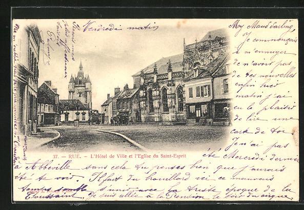 AK Rue, L` Hotel de Ville et l` Eglise du Saint-Esprit 0
