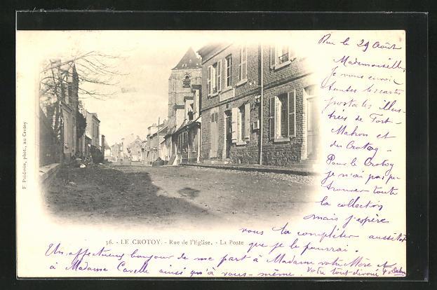 AK Le Crotoy, Rue de l` Eglise, La Poste 0