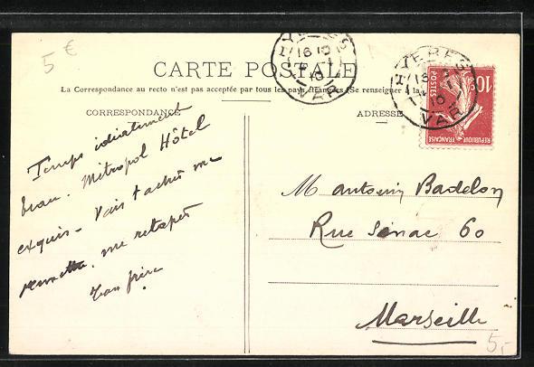 AK Hyères, La Poste, Strassenpartie 1