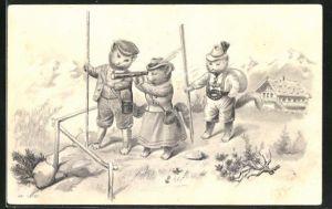 Präge-AK Katzen machen einen Ausflug ins Gebirge