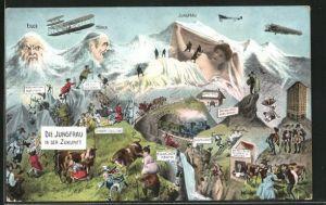 AK Die Jungfrau in der Zukunft, Jungfrau, Eiger und Mönch mit Berg mit Berggesichtern