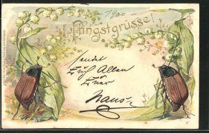 Präge-AK Zwei Maikäfer mit Maiglöckchen, Pfingstgruss