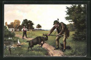 AK Jäger mit Einem Dackel und einer Gams