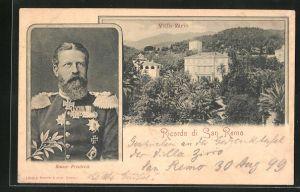AK San Remo, Friedrich Wilhelm III. von Preussen in Uniform, Blick auf Villa Zirio