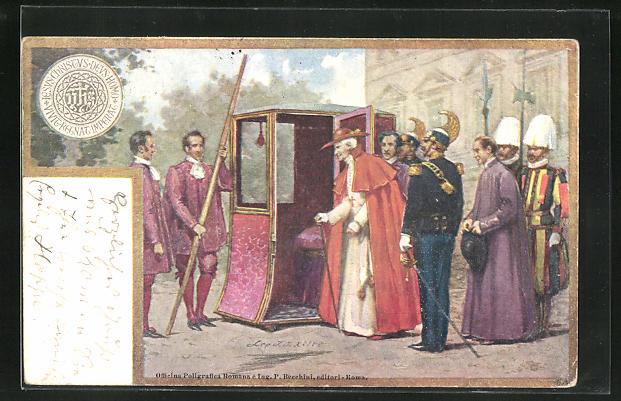 AK Papst Leo XIII. besteigt eine Sänfte
