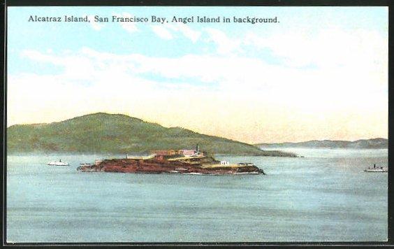 AK San Francisco, Blick zum Gefängnis Alcatraz