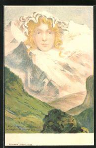 Lithographie Killinger Nr. 111, Eine Jungfrau ohne Gleichen, Berg mit Gesicht / Berggesicht, Berggesichter
