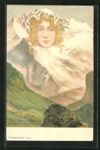 Lithographie Killinger Nr. 111, Eine Jungfrau ohne Gleichen, Berggesicht, Berggesichter