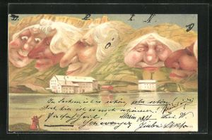 Lithographie Killinger Nr. 105, Gruss von der Grimsel, Berge mit Gesicht / Berggesichter