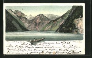 Lithographie Seiling Nr. 43, Königssee, Panorama mit Berg mit Gesicht / Berggesicht, Berggesichter