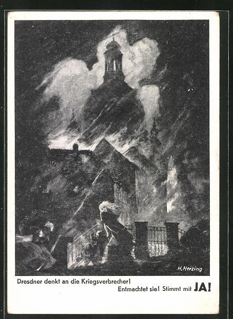 AK DDR-Propaganda Dresdner denkt an die Kriegsverbrecher!