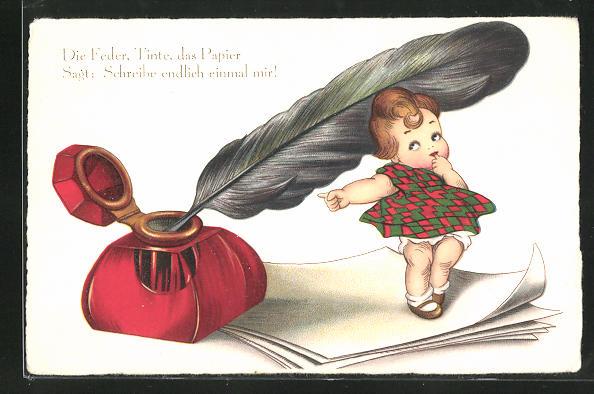 AK Die Feder, Tinte, das Papier, Sagt: Schreibe endlich einmal mir, Kleine Frau neben einem Tintenfass mit einer Feder