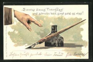 AK Auf einer Tintenfass gerichteter Zeigefinger, Benutze dieses Tintenfass und schreibe....