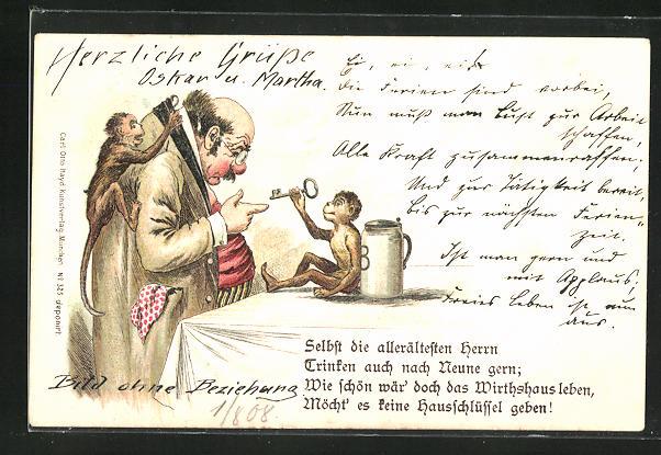 AK Herr mit zwei Affen und einem Bierkrug, Selbst die allerältesten Herrn, Trinken auch nach Neune gern...